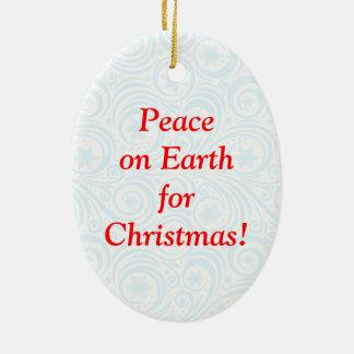 "Fun Santa Claus & Rudolph ""Peace on Earth"" cartoon Ceramic Ornament"