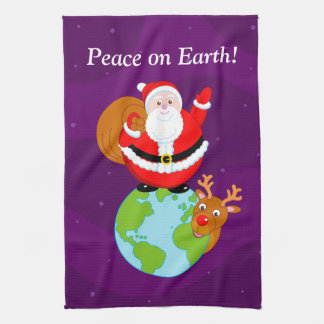 "Fun Santa Claus & Rudolph ""Peace on Earth"" cartoon Kitchen Towel"