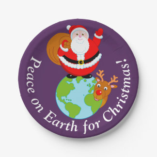 "Fun Santa Claus & Rudolph ""Peace on Earth"" cartoon Paper Plate"
