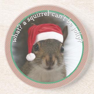 Fun Santa Squirrel Speaks Sarcasm Christmas Coaster