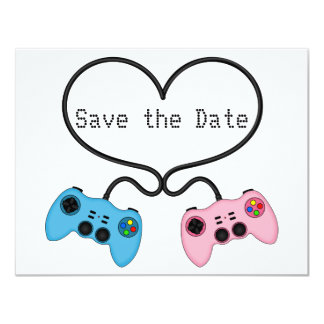 "Fun Save the Date for Video Game Players 4.25"" X 5.5"" Invitation Card"