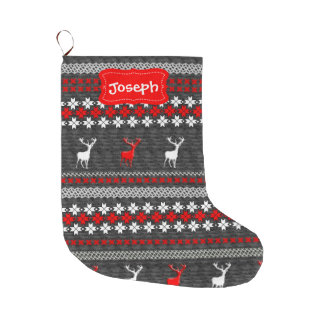 Fun Scandinavian Deer Festive Pattern Large Christmas Stocking