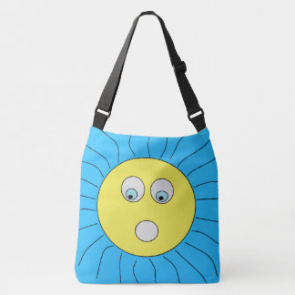 Fun Scared Sun Drawing Blue Crossbody Bag