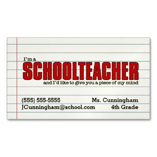 Fun Schoolteacher Magnetic Contact Card