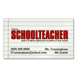 Fun Schoolteacher Magnetic Contact Card Business Card Magnet