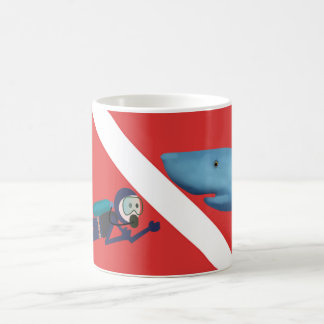 FUN SHARK ENCOUNTER, SCUBA DIVER, RED SCUBA FLAG COFFEE MUG