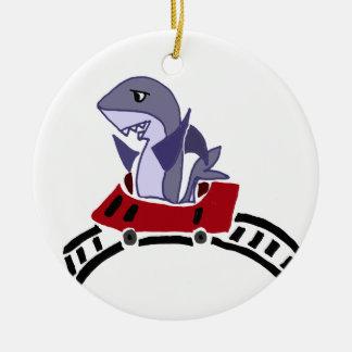 Fun Shark Riding on Roller Coaster Ceramic Ornament