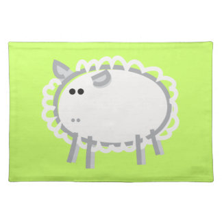 Fun Sheep on Green Place Mats