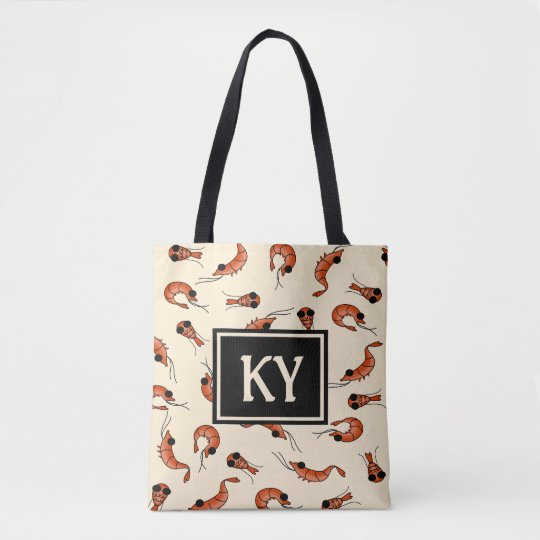 Fun shrimp all over print tote bag