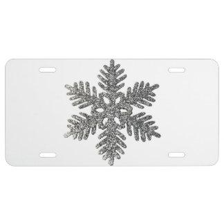 Fun Silver Glitter Star Christmas Snowflake License Plate