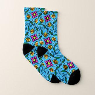 Fun Sketched Floral Socks 1