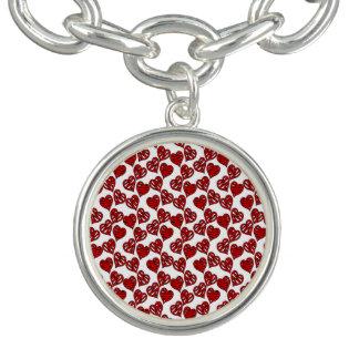 Fun Sketchy Hearts Pattern Charm Bracelet