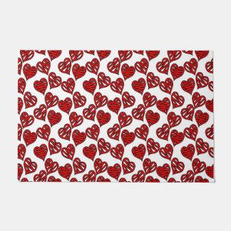 Fun Sketchy Hearts Pattern Doormat