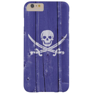 Fun skull cross swords on blue wood panel printed barely there iPhone 6 plus case