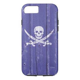 Fun skull cross swords on blue wood panel printed iPhone 8/7 case