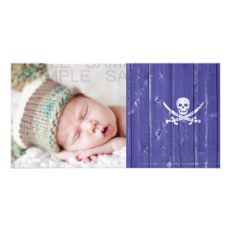 Fun skull cross swords on blue wood panel printed picture card