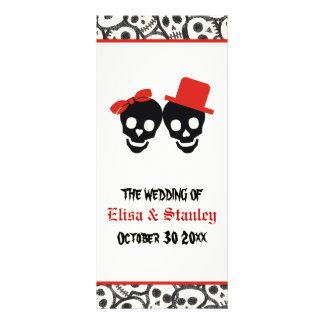 Fun skulls Halloween red wedding program
