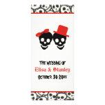 Fun skulls Halloween red wedding program Rack Cards