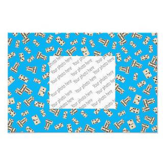 Fun sky blue domino pattern photo print