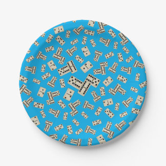 Fun sky blue dominos 7 inch paper plate