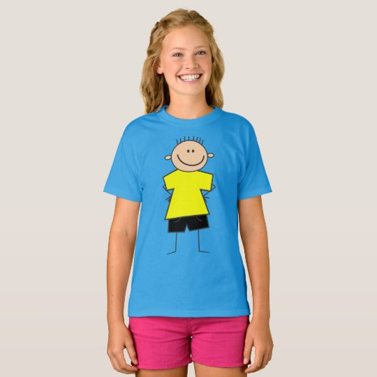 Fun Smiley Boy Stick Figure Design Shirt for Kids