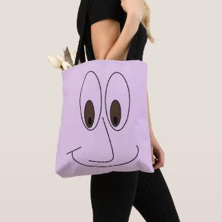 Fun Smiley Cartoon Face Print Tote Bag