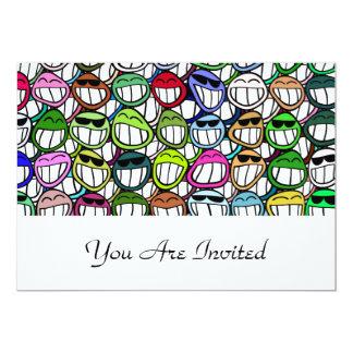 "Fun Smiley Faces Pattern 5"" X 7"" Invitation Card"