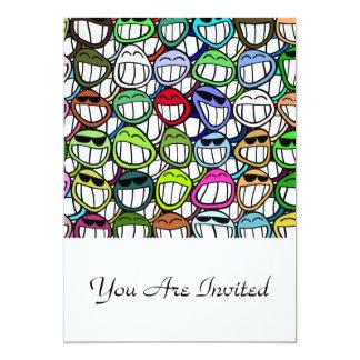 Fun Smiley Faces Pattern 5x7 Paper Invitation Card