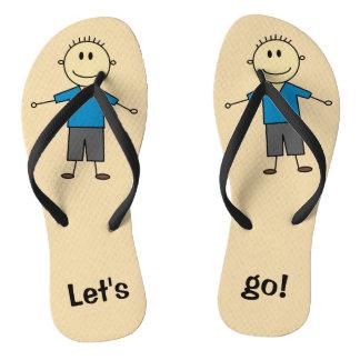 Fun Smiling Boy Stick Figure Design Flip Flops