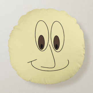 Fun Smiling Man Cartoon Face Print Round Pillow