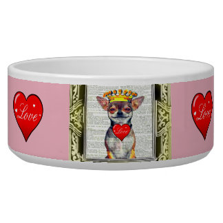 FUN SMILING PINK CHIHUAHUA LOVE BOWL