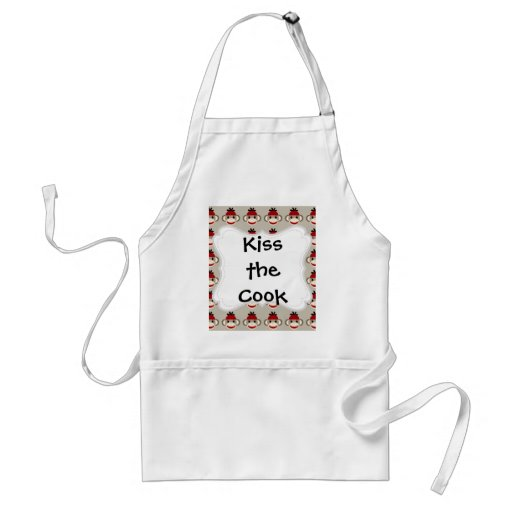 Fun Smiling Red Sock Monkey Happy Patterns Apron