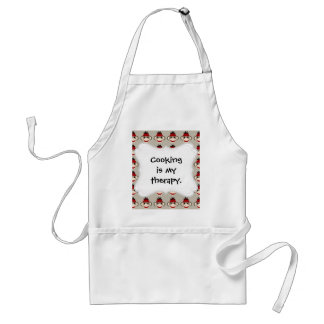 Fun Smiling Red Sock Monkey Happy Patterns Adult Apron
