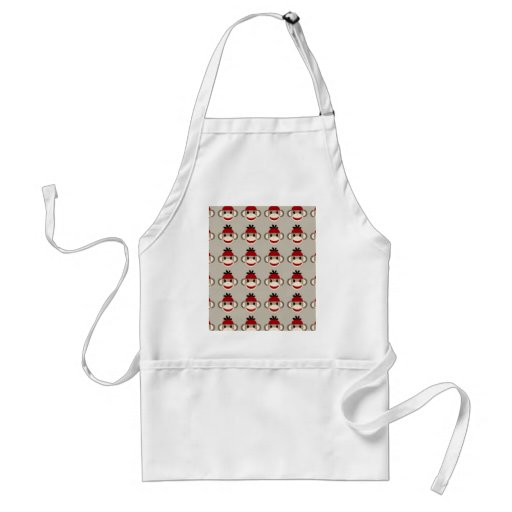 Fun Smiling Red Sock Monkey Happy Patterns Aprons