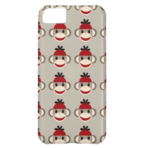 Fun Smiling Red Sock Monkey Happy Patterns iPhone 5C Case