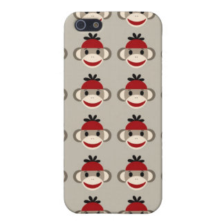 Fun Smiling Red Sock Monkey Happy Patterns iPhone 5 Covers
