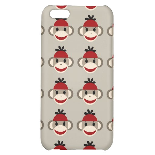 Fun Smiling Red Sock Monkey Happy Patterns iPhone 5C Covers