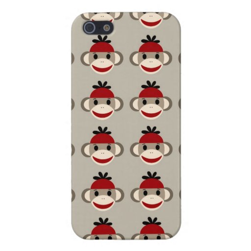 Fun Smiling Red Sock Monkey Happy Patterns Covers For iPhone 5