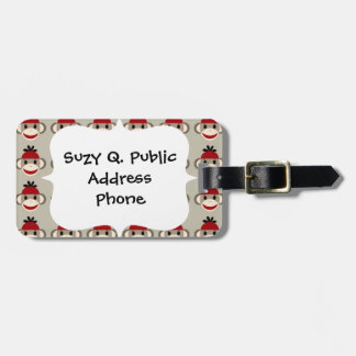 Fun Smiling Red Sock Monkey Happy Patterns Luggage Tag