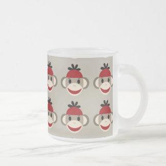Fun Smiling Red Sock Monkey Happy Patterns Coffee Mugs