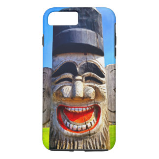 Fun smiling silly laughing teeth wooden face photo iPhone 8 plus/7 plus case
