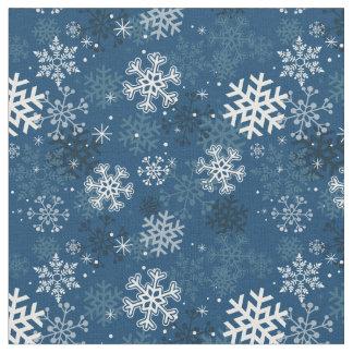 Fun Snowflake Print Fabric, Blue Fabric