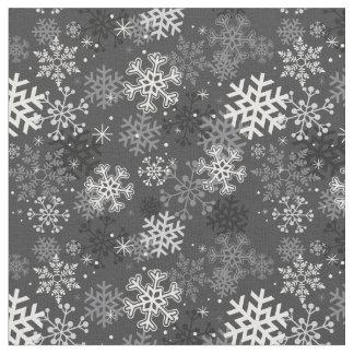 Fun Snowflake Print Fabric, Gray Fabric