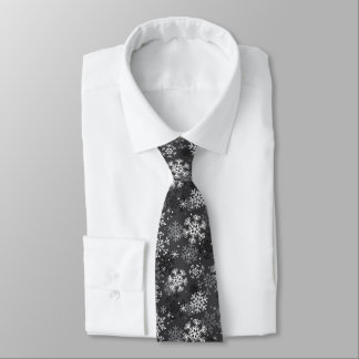 Fun Snowflake Print Tie, Gray Tie