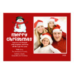 Fun Snowman Christmas Flat Photo Card Custom Invite