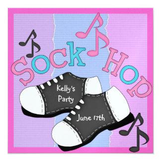 """FUN Sock Hop Party Invitations 5.25"""" Square Invitation Card"""