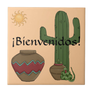 Fun Spanish Welcome Southwestern Desert Scene Ceramic Tile