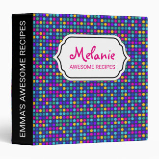 Fun sparkling blue small colorful dots 3 ring binders