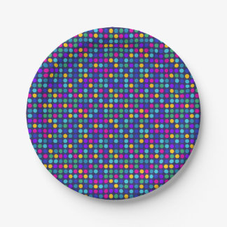 Fun sparkling blue small colorful dots 7 inch paper plate
