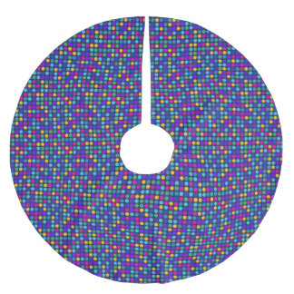 Fun sparkling blue small colorful dots brushed polyester tree skirt